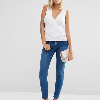 ASOS Wrap Front Sleeveless Top at asos.com