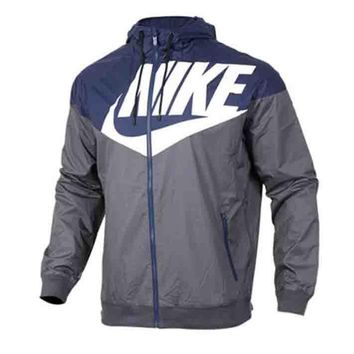 Nike Fashion Women Men Casual Color Stitching Zipper Hoodie Cardigan Sweatshirt Jacket Coat Windbreaker Sportswear Grey