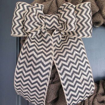 "9"" Black Chevron Burlap Bow, Wreath Bow, Floral Bow, Ribbon, Spring, Easter, Holiday, Summer, Year Round, Wedding, Nursery, Multipurpose"