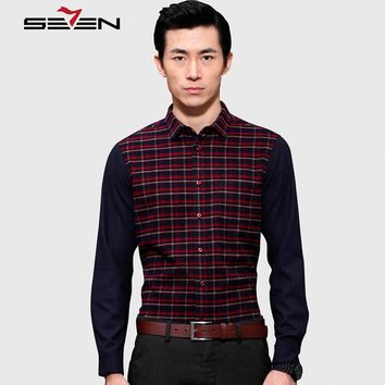 Seven7 Brand High Quality Men Button Down Shirts Long Sleeve Fashion Shirt Slim Patchwork Classic Plaid Casual Shirts 807A35310