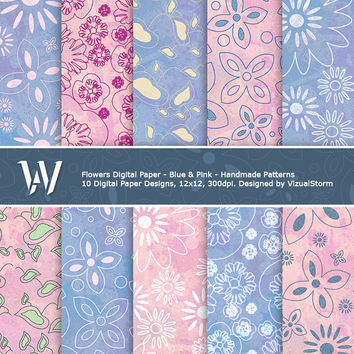 Flowers Digital Paper, pink and blue printable backgrounds, daisy, vines, pansies, petals, glitter texture, DIY crafts, Buy 2 Get 1 Free