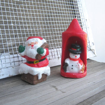 Cute Vintage Christmas Candles - Santa Climbing Chimney Candle or 3D, 2-layer Snowman Candle - Snowman with Squirrel Candle