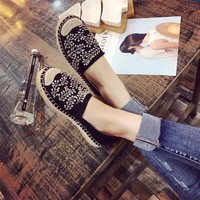 Women Casual Fashion Weave Embroidery Sequins Loafer Shoes Flats Shoes