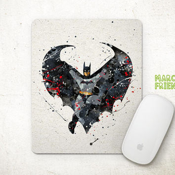 Superhero Mouse Pad, Batman Watercolor Art, Mousepad, Office Decor, Gift, Art Print, Desk Deco, For Kids, Computer Mouse, Batman Accessories