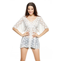 White V-Neck Sheer Mesh Floral Lace Tunic Beach Cover Up