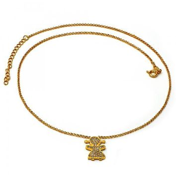 Gold Layered 04.91.0002 Fancy Necklace, Little Girl Design, with White Micro Pave, Golden Tone
