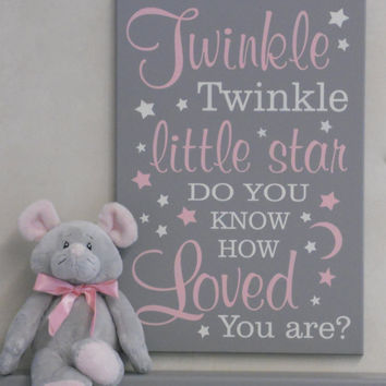 Twinkle Twinkle Little Star Do You Know How Loved You Are - Nursery Decor - Baby Nursery Wall Art - Baby Shower Gift - Pink and Gray