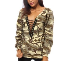 Long Sleeve Lace-Up Pocket Front  Camo Top