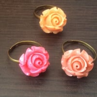 Set of three ring,pink orange ring,beautifull flower pink ring