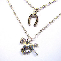 Lucky Horse and Horseshoe layered necklaces