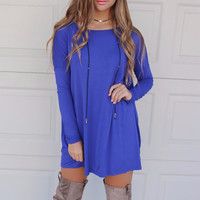 Ellington Royal Blue Piko Long Sleeve Dress