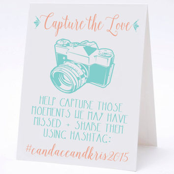 Capture the Love Hashtag Social Media Table Cards - Vintage Calligraphy Wedding Table Numbers