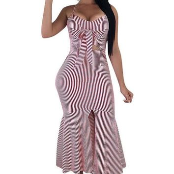 White Red Striped Spaghetti Strap Mermaid Midi Dress