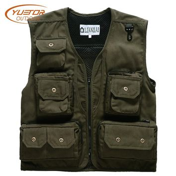 Multi-pockets Summer Outdoor Hunting Tactical Sleeveless Jackets Photography Working Wear Waitcoats Canvas Fishing Vest