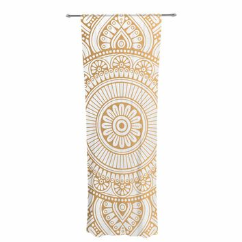 "NL designs ""Golden Mandala"" Gold White Pattern Ethnic Digital Vector Decorative Sheer Curtain"