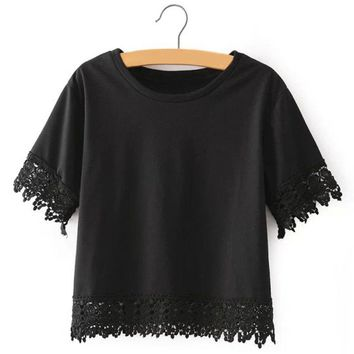 Fresh Style Round Neck Short Sleeve Lace Spliced Pure Color Women's T-Shirt