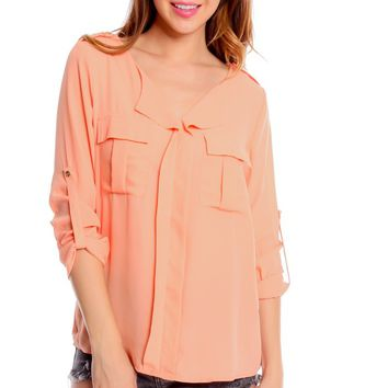 PEACH CASUAL 3/4 ROLL UP SLEEVE TWO POCKET BLOUSE