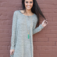Layer Me Pretty Sweater Dress- Olive