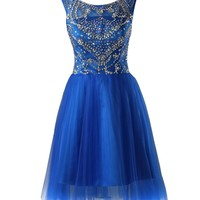 Dresstells Long Royal blue Chiffon Prom Dress Sweet 16 Cocktail Party Dress