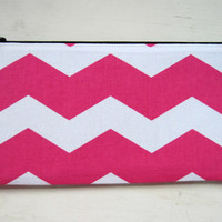 Pencil pouch, pen case, cosmetic bag, zipper pouch, pink chevron, school supplies, back to school