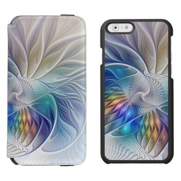 Floral Fantasy, Colorful Abstract Fractal Flower iPhone 6/6s Wallet Case