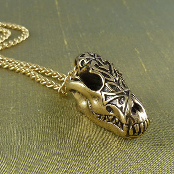 "Wolf Skull Necklace with Tribal Design Bronze Wolf Skull Pendant on 24"" Gold Plated Chain"