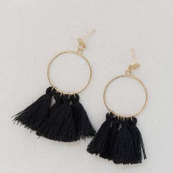 Samba Fringe Earrings - Black