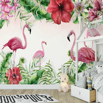 3d wall paper decorative painting wallpaper for wall home improvement 3D wallpapers living room medieval tropical flamingo plant