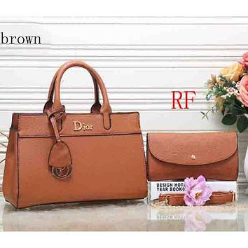 Dior 2018 latest women's fashion elegant leather handbag (Two sets) F-RF-PJ Brown