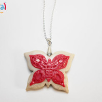 Magenta Double Butterfly Pendant - Handmade of Polymer Clay - Selsal