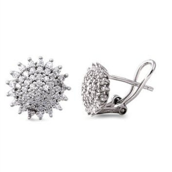 Cubic Zirconia Sterling Silver 925 Sun Earrings