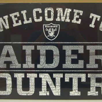 "OAKLAND RAIDERS WELCOME TO RAIDERS COUNTRY WOOD SIGN 13""X24'' NEW WINCRAFT"