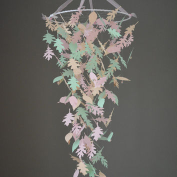 Custom order for Marijn de Graaf --- Nature inspired paper leaves mobile in gorgeous soft pastel shades --- Nursery mobile