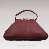 Vintage 1950s Purse Oxblood Burgundy Triangle Shape Earl Groth Ft Wayne Ind Original Tag