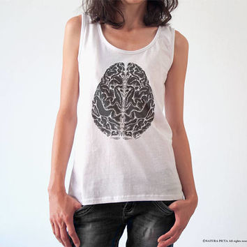 Brain T-shirt-Anatomical tees-tattoo T-shirt-retro women brain shirt-men's brain t-shirt-brain tank top-cool shirt-doctor gift-NATURA PICTA