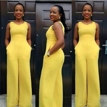 Yellow  Sleeveless Wide Leg Jumpsuit With Pocket