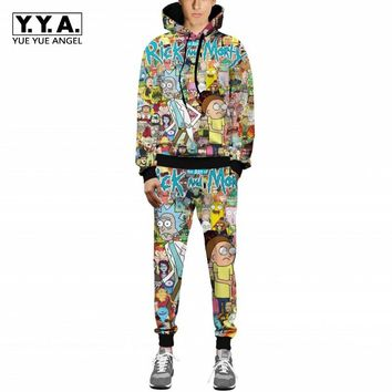 Rick and Morty Printed Hooded Autumn Pants Hip Hop Men 2018 New Fashion Hot Sale Sweaters With Pants Sets Male Hoodies Pullovers