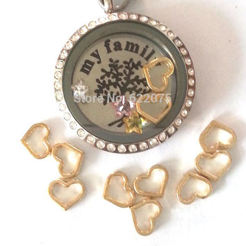 Gold Open Heart Floating Locket Charm for Origami Owl or Glass Memory Locket Necklaces