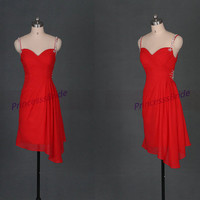 2014 red chiffon homecoming dress with sequins,short simple bridesmaid dresses under 100,cheap chic women gowns for prom party.
