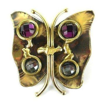 Brass Butterfly Brooch with Crystals