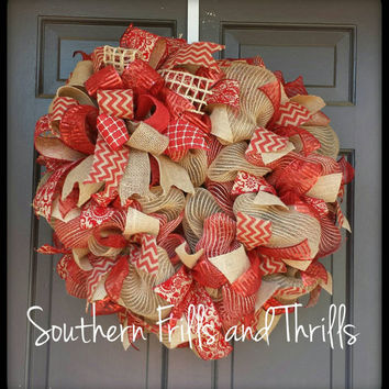 Christmas Wreath, Ribbon Wreath, Holiday Wreath, Christmas Decor, Jute Wreath, Deco Mesh Wreath, Wreath, Funky Bow Wreath