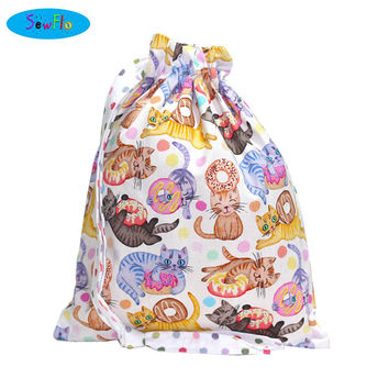 NEW! Cats Project Knitting Bag-Donut Sock Knitting Bag-Doughnut Drawstring Pouch | Cute Knitting Bag