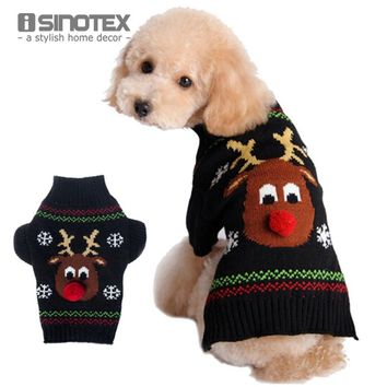 Dog Clothes Warm Pullover Christmas Pet Coat Winter Cats Clothing With Deer Apparel Sweater Knitwear Puppy Coat Outwear Costume