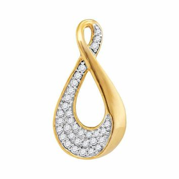 10kt Yellow Gold Women's Round Diamond Teardrop Cluster Pendant 1-8 Cttw - FREE Shipping (US/CAN)