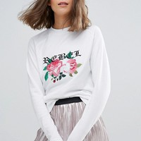 Daisy Street Embroidered Sweater at asos.com