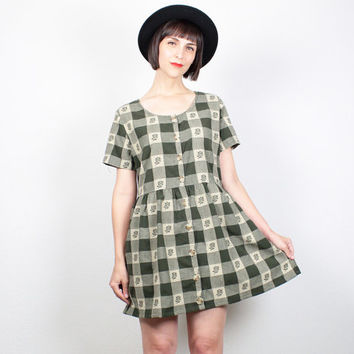 Vintage 90s Dress Babydoll Dress Hunter Green Tan Plaid Embroidered 1990s Dress Soft Grunge Dress Forest Green Mini Dress M medium L Large