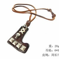 Black real Leather and alloy pendant adjustable necklace mens necklace  unisex necklace cool necklace B293