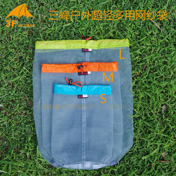3F UL Gear S/M/L 20D Tent Fabric Ultralight Ultra-small Versatile Waterproof  Drawstring Sack  Mesh Bag Bucket Tent Pegs Bag