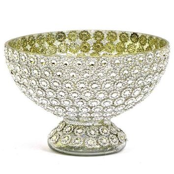 "Jeweled Glass Centerpiece Bowl in Silver - 5"" Tall x 7.5"" Wide"