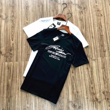 """""""Emporio Armani"""" Unisex Casual Simple Fashion Embroidery Letter Print Short Sleeve Couple T-shirt Top Tee"""